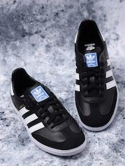 adidas originals kids black samba og j leather sneakers