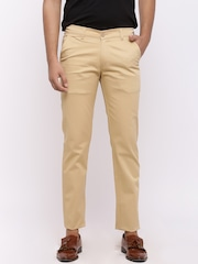 Nation Polo Club Men Beige Skinny Fit Solid Chinos