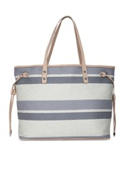 Forever New Blue Off White Striped Tote Bag