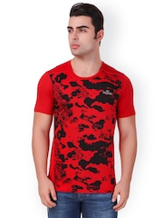 Killer Men Red & Black Round Neck T-shirt