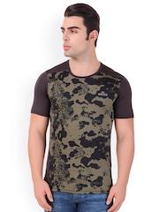 Killer Men Brown Self Design Round Neck Sports T-shirt