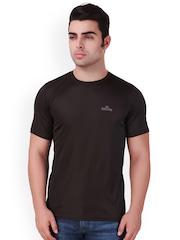 Killer Men Brown Solid Round Neck Sports T-shirt