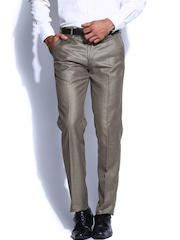 Four One Oh Men Brown Slim Fit Formal Trousers