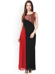 Red and black maxi dresses