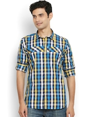 Orange Valley Multicoloured Checked Slim Fit Casual Shirt