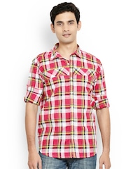 Orange Valley Red Checked Linen Slim Fit Shirt