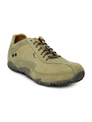 Woodland Men Olive Green Leather Casual Shoes