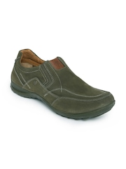 Woodland Men Olive Green Leather Slip-On Sneakers