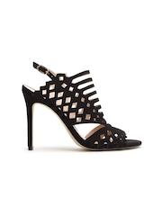 MANGO Women Black Cut-Out Slim Heels