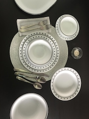 Corelle White & Black 21-Piece Printed Dinner Set