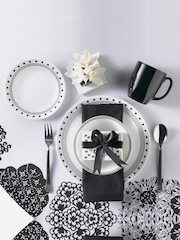 Corelle White & Black 16-Piece Printed Dinner Set