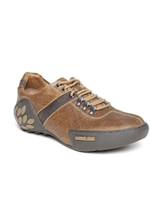 Woodland Men Brown Leather Printed Sneakers