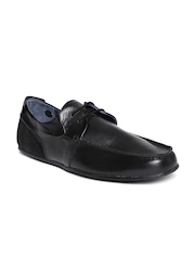 Woodland Men Black Leather Derbys