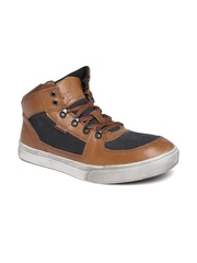 Woodland Proplanet Men Tan Brown Nubuck Leather Mid-Top Flat Boots