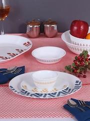 Corelle Set of 30 White Printed Glass Dinner set