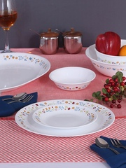Corelle White 21-Piece Printed Glass Dinner Set