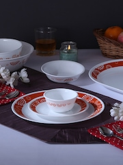 Corelle White & Orange 30-Piece Printed Glass Dinner Set