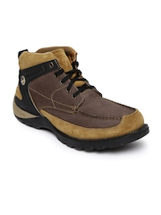 Woodland Men Brown Solid Leather Mid-Top Flat Boots