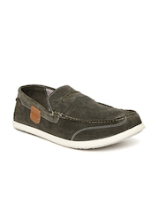 Woodland Men Olive Green Suede Penny Loafers