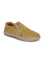 Woodland Men Tan Brown Slip-On Sneakers