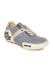 Woodland Men Grey Leather Outdoor Shoes