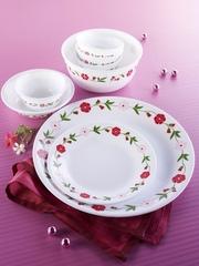 Corelle White Set of 14 Printed Glass Dinner Set