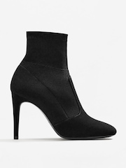 MANGO Women Black Solid Heeled Boots