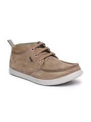 Woodland Men Brown Solid Leather Mid-Top Derbys