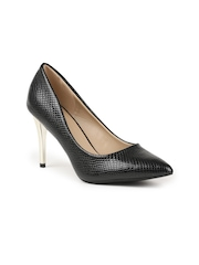 CERIZ Women Black Solid Pumps