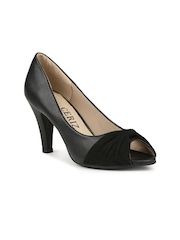 CERIZ Women Black Solid Peep Toes