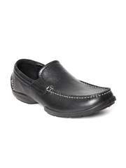 Woodland Men Black Leather Loafers