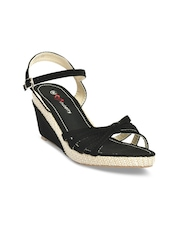 Shuberry Women Black Solid Sandals