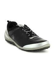 Woodland Men Black Perforated Leather Sneakers