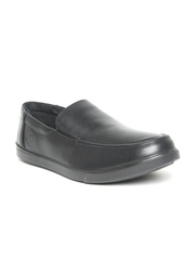 Woodland Men Black Leather Loafers