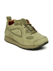 Woodland Men Beige & Olive Nubuck Sneakers