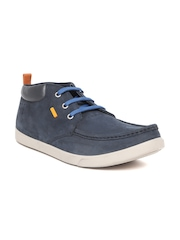 Woodland Men Navy Nubuck Leather Derbys