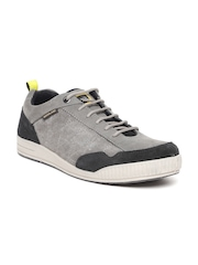 Woodland Men Grey Nubuck Leather Sneakers
