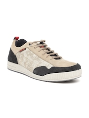 Woodland Men Beige Nubuck Leather Sneakers