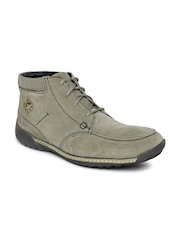 Woodland Men Grey Solid Suede Mid-Top Flat Boots