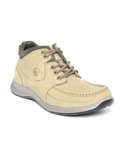 Woodland Men Beige Nubuck Leather Mid-Top Flat Boots