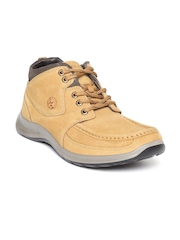 Woodland Men Camel Brown Nubuck Leather Mid-Top Flat Boots