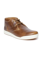 Woodland ProPlanet Men Brown Solid Nubuck Leather Mid-Top Sneakers