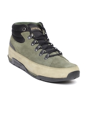 Woodland ProPlanet Men Olive Green & Khaki Colourblocked Nubuck Leather Sneakers