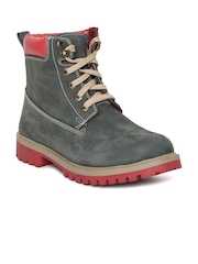 Woodland Men Navy Blue Solid Suede High-Top Flat Boots