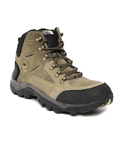 Woodland Men Khaki Leather Trekking Shoes