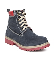 Woodland Men Navy Suede Boots