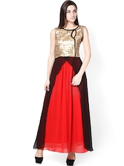 Athena Gold & Black Georgette Maxi Dress