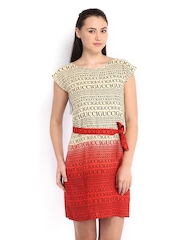 Neels Cream-Coloured & Red Printed Tailored Dress