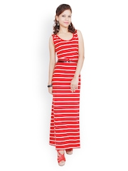 StileStreet Red and White Striped Maxi Dress