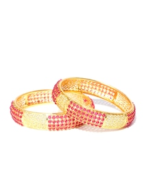 52477f047232d Buy Spargz Set Of 2 Pink & Green Gold Plated Stone Studded Bangles ...